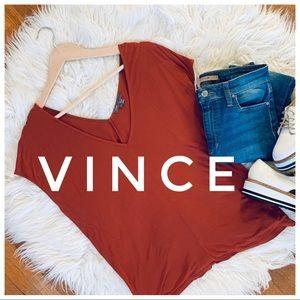 VINCE. Orange vneck shirt